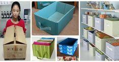Haz útiles cajas organizadoras reciclando cartón y tela Linen Closet Organization, Cardboard Crafts, Ideas Para, Recycling, Diy Crafts, Box, Fabric, Home Decor, Organize Dresser Drawers