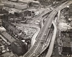 The now demolished Central Artery in Boston looking north. It was put underground by the Big Dig tunnel project. Quincy Market on lower left. Jan. 3, 1969. MDPW photo