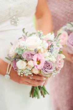 Pastel pink wedding bouquet - picture by Naomi Kenton White Rose Bouquet, Rose Wedding Bouquet, White Wedding Bouquets, Wedding Flower Arrangements, Bride Bouquets, Bridal Flowers, Purple Bouquets, Bridesmaid Bouquets, Pink Bouquet