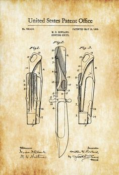 Hunting Knife Patent 1903 - Patent Print, Wall Decor, Knife Patent, Hunting Decor, Hunter Gift, Folding Knife, Cabin Decor
