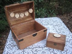 Large Card Box Rustic Wedding Decor Trunk Chest Ring Box Set. $106.95, via Etsy.