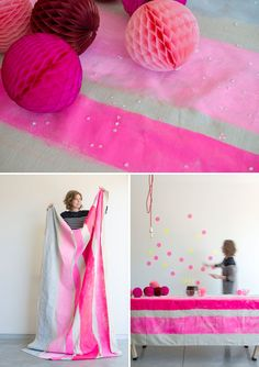 Painterly Trend:  DIY Striped Tablecloth...I'd love to try this on a natural canvas dropcloth or white canvas fabric. | Oh Happy Day!