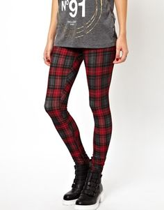 Image 4 of ASOS Leggings in Plaid