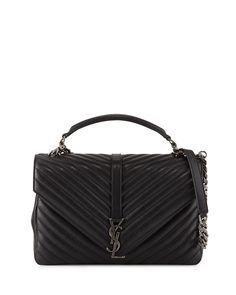 Monogram College Large Chain Satchel Bag, Black, Women's - Saint Laurent