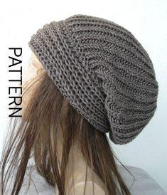 Instant Download Knit hat pattern- Digital  Hat Knitting PATTERN PDF - Brioche Stitche  hat  Pattern - Slouchy  Hat Knit Pattern