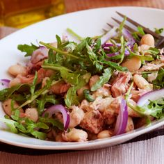 Arugula Salad with Crumbled Turkey Sausage and White Beans