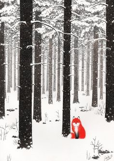 Fox at snowing forest illustration
