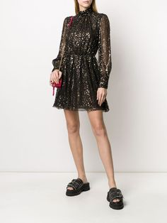 Shop black MSGM metallic detail dress with Express Delivery - Farfetch Black People Weddings, Metallic Prints, Short Dresses, Formal Dresses, Msgm, Dress Skirt, Casual Outfits, Women Wear, Turtle Neck
