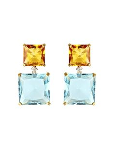 Kiki McDonough Topaz, Citrine and Diamond Earrings