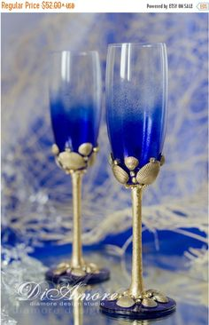 ON SALE 25% Gold & Royal blue wedding champagne by DiAmoreDS