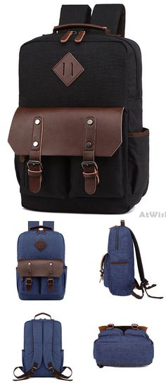 c6c00099f8 Retro Splicing PU Two Pockets Waterproof Leather Flap Large School Laptop  Bag Travel Canvas Backpack for