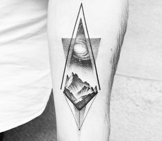 Universe and Mountains tattoo by Amanda Piejak