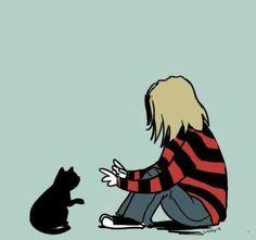 Kurt and cat Kurt Cobain Art, Nirvana Kurt Cobain, Kurt Cobain Tattoo, Nirvana Band, Gambit Wallpaper, Grunge, Donald Cobain, Fan Art, Music Stuff