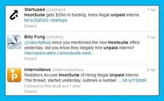Backlash on HootSuite for their use of unpaid interns