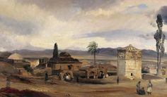 Theodore Gudin (1802-1880)-View of Athens with the tower of the winds and the Agora