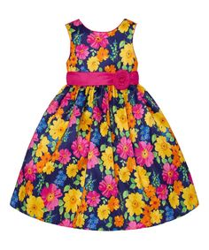 Navy & Pink Floral Rosette A-Line Dress - Infant Toddler & Girls