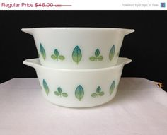 Pyrex  Twin Server Promotional Set  Blue and Green by nddevens