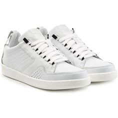 Kenzo Leather Sneakers (10.270 RUB) ❤ liked on Polyvore featuring shoes, sneakers, white, white sneakers, metallic silver sneakers, white leather shoes, perforated leather sneakers and white lace up shoes