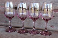 Hey, I found this really awesome Etsy listing at https://www.etsy.com/listing/116758449/four-4-vintage-pink-purple-wine-glasses