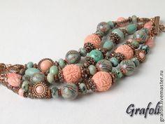Браслет Коралловые рифы - коралловый,браслет,браслет из камней,многорядный браслет