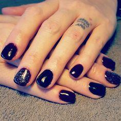 Black Cherry Glitter nails