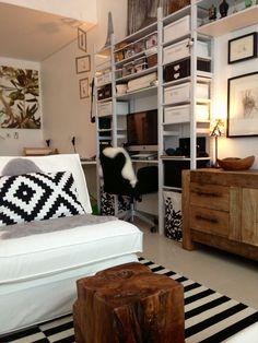 Living Room: IKEA- Ivar shelves; Stockholm rug; Kivik seating