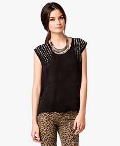Rhinestoned & Studded Georgette Top | FOREVER 21 - 2036046164