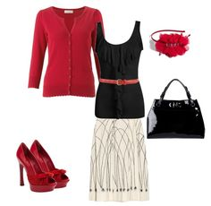 red, black & white--love those shoes