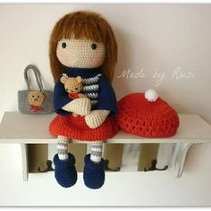 Crochet doll and little bear