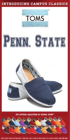 finest selection 83f63 47d24 TOMS Shoes Penn. State Campus Classics - One for One Flower Shoes, Bow Shoes