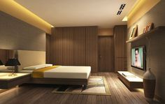 Wooden Platform Bed features Japanese Bedroom Concept and Modern Interior…