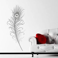 Large Peacock Feather Quote Wall Art Sticker, Wall Mural, Wall Decal, Diy  Deco Part 71