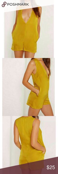 Golden Yellow V Neck Romper Gorgeous summer breezy golden yellow romper with plunging v-neck. Give me a 70's vibe :) Very thin material so it's a tad bit sheer...for example I can see my booty tattoo underneath this but have no problems when I wear nude/neutral underwear. This is definitely for a petite size 0 girl or XS. I actually just bought this from another seller because she was too tall for it and so am I unfortunately. I'll be happy to measure for those interested!:) in perfect…