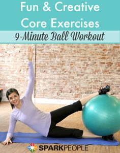 Sculpt your core in 9 minutes with this efficient stability ball routine! | via @SparkPeople #fitness #workout #core #abs #homeworkout