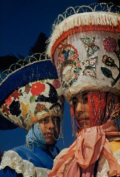 Portrait of two young men dressed up as chinelos for carnival in Tepotzotlan, Mexico, December 1951.Photograph by Justin Locke, National Geo...