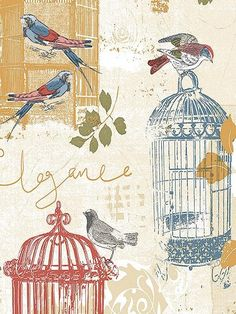 Red Blue and Yellow Birdcage Toile Kitchen Wallpaper