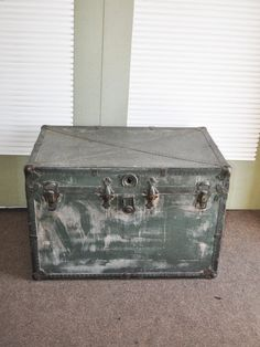 """Vintage Large Dark Green Wood and Metal Trunk 