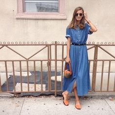 What about making a Cinema Dress from chambray or denim? Simple styling.
