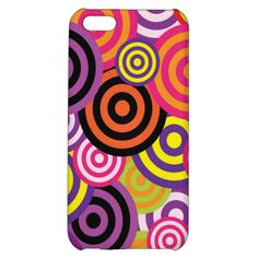 Bright Neon Modern Abstract Girly Circles Pattern Case For iPhone 5C