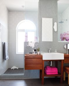 Is it weird that I want a tiled-all-over bathroom because I want to be able to clean/bleach the hell out of it with ease? That's probably weird.