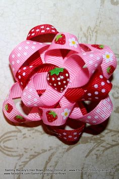 Strawberry  Loopy Hair Bow by Sammy Banany's Hair by iguania03, $4.99