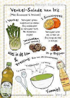 Recept voor venkelsalade met sinaasappel en walnoten. Makkelijk gezond en lekker voor de zomer of herfst. Grafische illustratie van Irms in zwart wit en frisse kleuren.