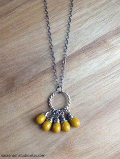 Mustard Glass Bead Cluster Necklace / Oxidized by SassenachStudio