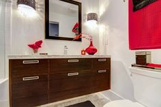 Custom wenge counter, topped with Carrara marble and waterfall faucet Waterfall Faucet, Carrara Marble, Bath Vanities, Beautiful Bathrooms, Double Vanity, Design Projects, Counter, Interior Design, Home