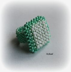 Mint/White Seed Bead Cocktail Ring, Statement Beadwork Ring, 3D RAW, Women's Beadwoven Jewelry, Original Fashion Jewelry, Unique Gift, OOAK