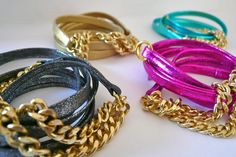 Oia Jules Metallic leather wrap bracelet with gold chain link. $35.00