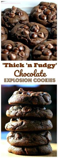 \'n Fudgy\' Chocolate Explosion Cookies - That\'s what these cookies are.pure chocolate explosions of love.\'Thick \'n Fudgy\' Chocolate Explosion Cookies - That\'s what these cookies are.pure chocolate explosions of love. Bon Dessert, Dessert Aux Fruits, Appetizer Dessert, Chocolate Desserts, Chocolate Chip Cookies, Cooking Chocolate, Chocolate Crinkles, Brownie Cookies, Chocolate Biscuit Recipe