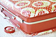 old (ugly) brown suitcase + modge podge + paint= fabulousness!