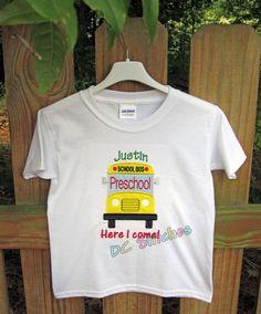 Here I come School shirt PreK, Preschool, Kindergarten, 1st Grade, 2nd Grade, 3rd Grade, 4th Grade, 5th Grade or 6th Grade Personalized. $21.00, via Etsy.