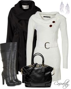 White Jumper w/ Black Leather Boots & Bag Classy Outfits, Cute Outfits, White Jumper, Autumn Winter Fashion, Winter Style, Fall Fashion, Cool Sweaters, Leather Boots, Black Leather